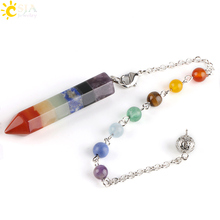 Buy CSJA 2017 Rainbow 7 Chakra Natural Gem Stone Beads Chain Hexagon Prism Pendulum Reiki Charm Healing Layered Dowsing Pendant E424 for $5.75 in AliExpress store