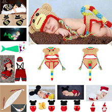 Lovely Animal Designs Crochet Baby Hat Beanie Photo Photography Props Knitted Newborn Costume Batman Monkey 1set/lot MZS-14043
