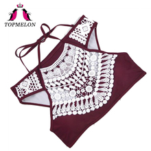 TOPMELON 2017 Women Swimwear Sexy Mini Bikini Lace Push Up Bathing Suit Hollow Halter Beachwear Brazilian Triangle Biquini Set(China)