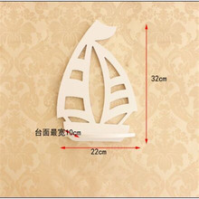 European garden wall hanging TV background wall Decor bedroom wall rack frame creative Home deocr wooden wall shelf boat model(China)