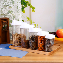 5Pcs/Set Kitchen Storage Organizer Grain Storage Container Rice Holder Box Cereal Bean Container Sealed Box with Measuring Cup