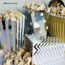 (12 pieces/lot) Metallic Silver Foil Mini Wedding Popcorn Box Small Favor Boxes for Candy Snack in Chevron Polka Dot and Stripes