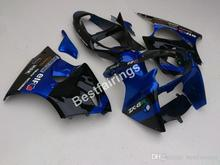 Injection molding lower price fairings for Kawasaki Ninja ZX6R 00 01 02 blue black fairing kit ZX6R 2000 2001 2002 TY29