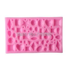 C150  Mini gem jewelry decoration fondant mold resin clay chocolate candy silicone cake mould pastry tools