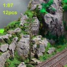 GY18087 12pcs Model Train Railway Round telephone poles 1:87 Scale HO wire NEW(China)