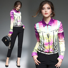 High Quality Women Floral Print Polo Blouse Cardigan Tops Blouse Female 2017 Summer OL Women's CHIFFON Silk Blouse Shirts JA2490