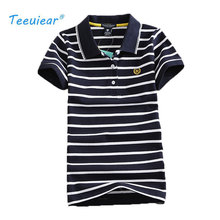 2017 New Stripe Print Slim Shirts Fashion Women Summer Top Cotton Embroidery Polo Style Casual Femme Tops Tee Short Sleeve Shirt