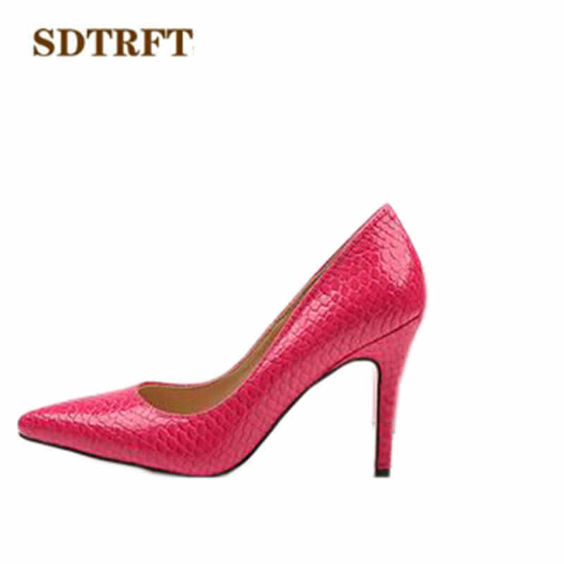 SDTRFT Small Yards:32 33 34-44 45 Plus snakeskin thin high-heeled female pointed toe elegant shoes shallow mouth wedding pumps<br>