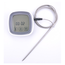 Electronic touch screen food thermometer, digital belt probe kitchen food temperature measuring instrument, free shipping