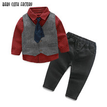 Retail boy clothes fashion winter toddler baby outfit 2016 baby suit Infant Formal Gentleman Necktie Suit stripe kids 4pcs set(China)