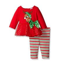 2016 Christmas Baby Girls Clothing Set Children Bowknot Deer 2 Pcs Red Dress Top + Leggings Long Sleeve Twinset Kids Clothes Set