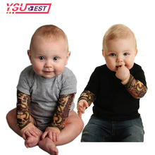 2017 Summer Fashion Rock Design Tattoo Baby Bodysuit for Baby Boys Girls Baby New Mesh Tattoo Sleeve Bodysuit Infant Baby Body