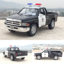 Candice guo 1:44 MINI KINSMART dodge RAM 1500 truck police emergency model alloy car children birthday gift pull back toy 1pc(China)
