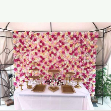Hot sale freeing shipping pink champagne flower backdrop flower wall wedding backdrop(China)