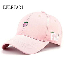 2017 New Arrival Spring Leisure Fresh Fruit Embroidery snapback Hat Strawberry Banana Cherry Orange Peach Baseball Cap For Women