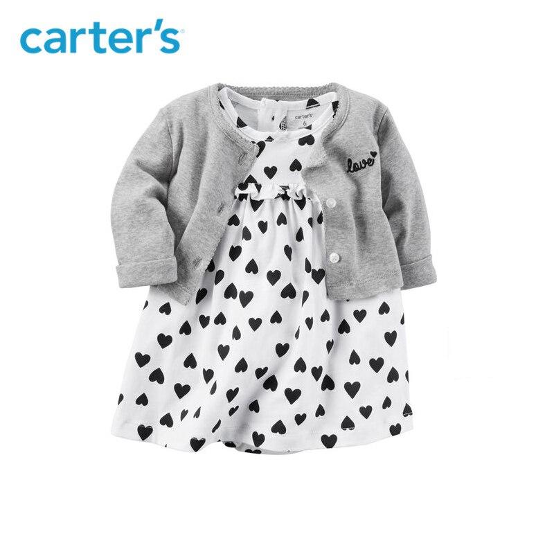 2 pcs vêtements ensembles doux coeur body robe avec un cardigan de Carter bébé fille coton Printemps Été Automne 126H362 11