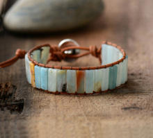 New Bohemia Bracelet Amazonite Single Vintage Leather Wrap Bracelet Semi Precious Stone Beaded Cuff Bracelet(China)