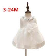 2016 White Baby Girl Wedding Dresses Bow 1 year Birthday Dress Puffy Party Sundress Baby Baptism Clothing 0-2T