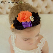 Naturalwell Crown headband fall Halloween headbands Shabby chic flower head band Child girls Photo Prop Costume Hair Piece HB613(China)