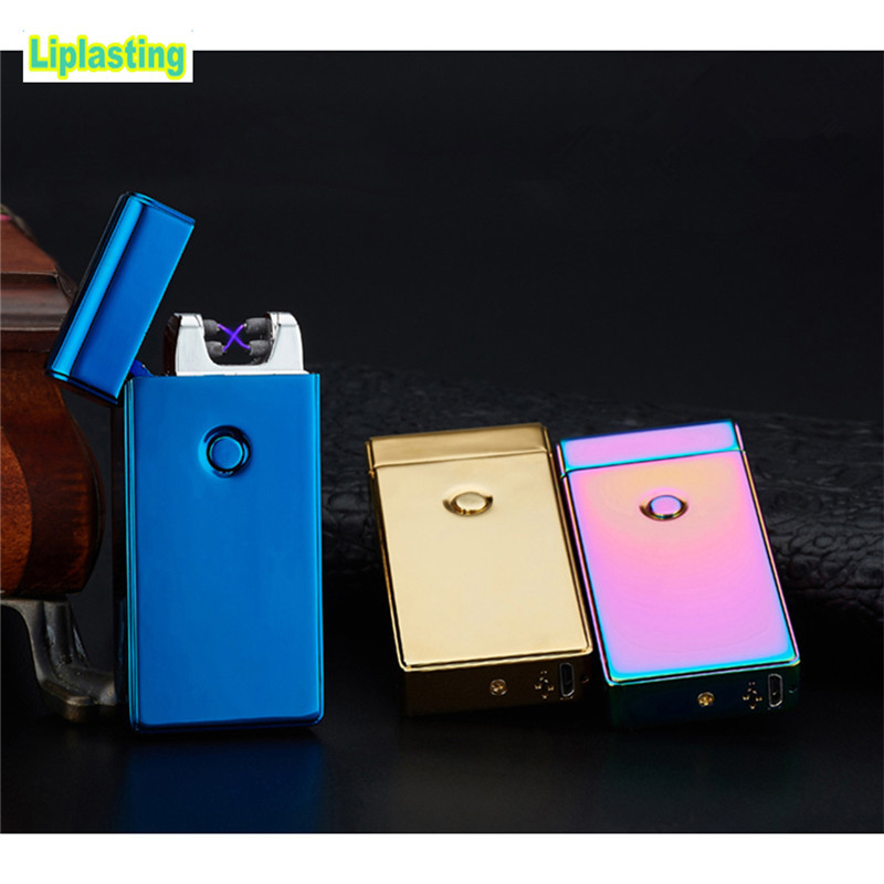 Liplasting 5 Colors USB Rechargeable Cigarette lighter Flameless Electric Dual Arc Metal Windproof Cigarette lighter Tool