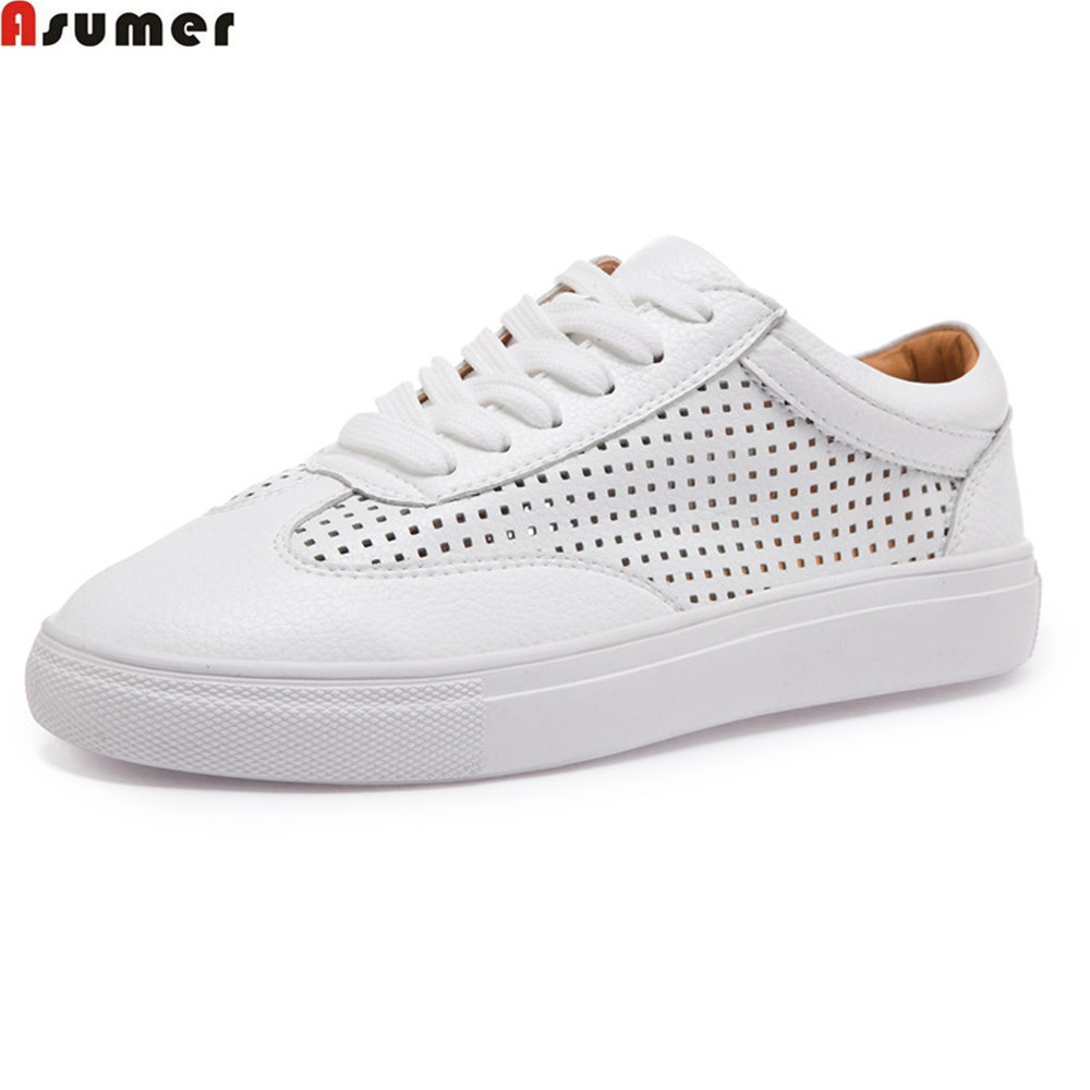 Asumer white fahsion spring autumn women flats shoes round toe genuine leather shoes casual sneakers single shoes comfortable<br>
