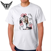 Muscleguys Brand cool girl design T-Shirt Mens white short sleeve t shirt printing USA Flag tops tee 100% cotton tshirts boy - BODYBUILDING GYM store