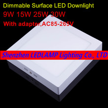 No Cut ceiling 9w 15w 25w 30w Surface mounted led downlight Square panel light Dimmable ceiling Down lamp kitchen(China)