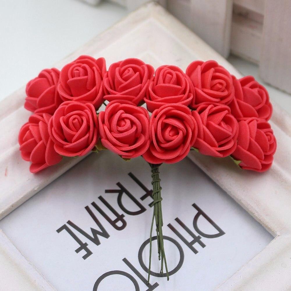 12pcs/lot New Hot 2cm Head Multicolor PE Foam Mini Flower Artificial Rose Flowers Bouquet wedding decorative flowers wreaths 11