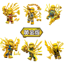 6pcs JX1060 Gold Ninjagoes  Figure weapon Model Building Blocks Bricks Kids Action Best Gift Baby Toys
