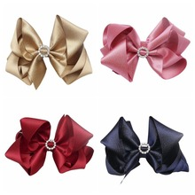 20 pcs/lot , 5 inch Large Twisted Boutique Hair Bow Clips with Rhinestone bling