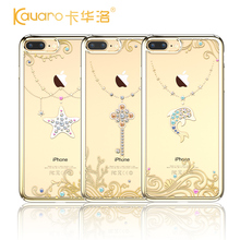 Original KAVARO Luxury Gold Plated Clear 360 Full Protect Hard Back Case Cover For iPhone 7/ 7 Plus With Crystals from Swarovski
