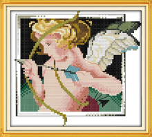 Cupid angel Baby Kids Cotton Portrait Cross stitch Kits DMC Print Paintings Embroidery DIY Handmade Needlework Home Decor Ricamo