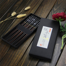 5 pair Japanese Wooden bamboo Chopsticks Gift Set Red Black Handle Design Couple Chopsticks with Case