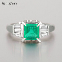 Simffvn Classic Style 0.97Ct Emerald Gemstone Ring With Natural Diamond Stamped By Pt900 Platinum Anniversary Ring For Women