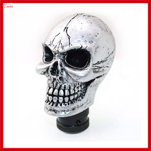 New Universal Gray Silver Ghost Head Bone Carved Skull Gear Shift Knob Gear Level Knob Shift Head