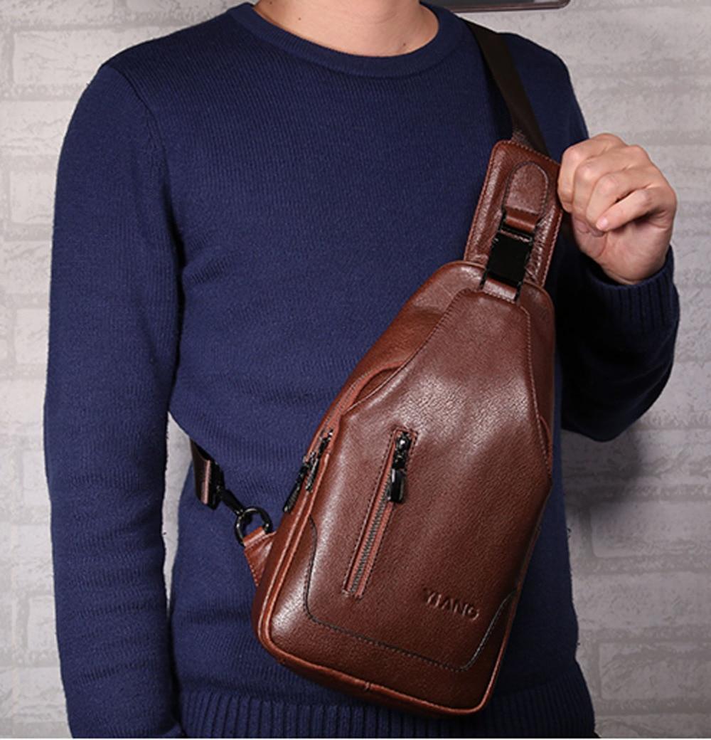 2018 High Quality fashion Men Genuine Leather Cowhide Sling Chest Pack Travel Climb Messenger Shoulder Cross Body Bag <br>