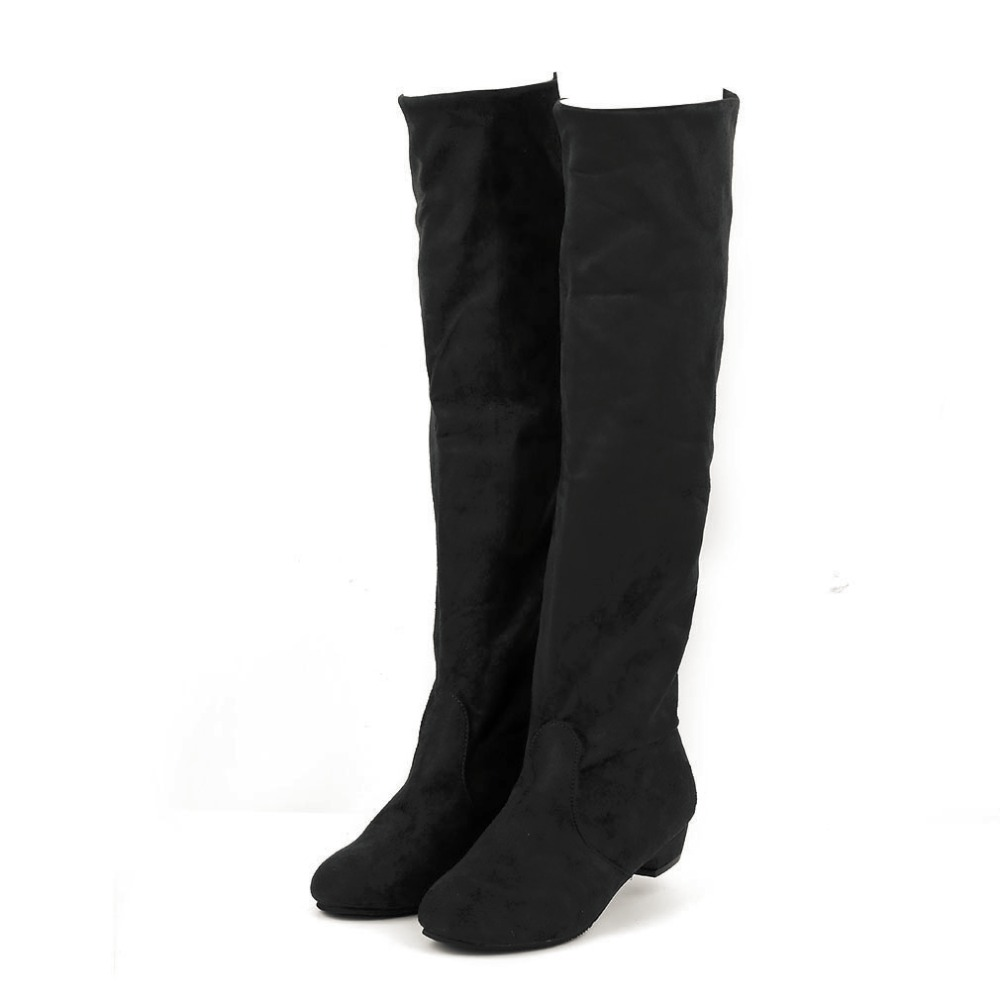 Womens Boots Ladies Sexy Knee-high Long Boots Low Heel Winter Autumn Shoes Slip-on Leisure Folding Women Shoes<br><br>Aliexpress