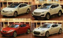 Candice guo alloy car model 1:36 Welly Hyundai Santafe Grandeur Genisis II coupe vehicle plastic motor pull back present gif 1pc