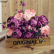 Luyue 13 Heads Artificial Peony flower Vintage Autumn Fake Silk Simulation Flower Bouquet Wedding decoration Home New Year Decor(China)