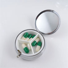 HOT SALE Divide Storage 1Pcs/Lot Metal Round Silver Tablet Pill Boxes Holder Advantageous Container Medicine Case Small Cases