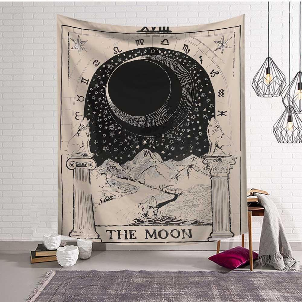 GT8053-1 Mandala Tapestry Wall Hanging Witchcraft Hippie Beach Throw Rug Carpet Sun Moon Tapestries Bohemian Home Art Psychedelic Decor
