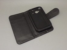 Crazy horse wallet case hold two Cards with 2 Card Holder and pouch slot For HTC G13 Wildfire S A510E