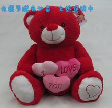 Free Shipping New Cute Red love heart  Teddy Bear Girl friend's Birthday Valentine's gift for Lovers 50cm Wedding Quality 819