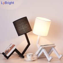 Vintage Iron Table Light AC 90-260V Creative Black White Table Lamp For Living Room Dining Room Bedroom Bedside Coffee Shop(China)