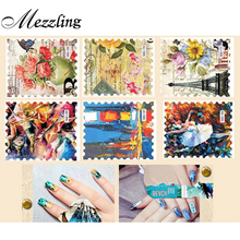 1 Sheet Vintage Postage Stamp Water Transfer Nail Sticker Flower Butterfly Nail Decals,Nail Decorations Tips Accessories