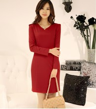 2016 hot selling women's slim dresses office lady working casual nice short dress sexy girls fashion red black size 3XL XL #H681