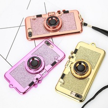 Hot New Luxury 3D Retro Camera Phone Case For 7Plus 7 6 6s plus glitter Soft TPU Case with Lanyard Back Cover Fundas Capa(China)