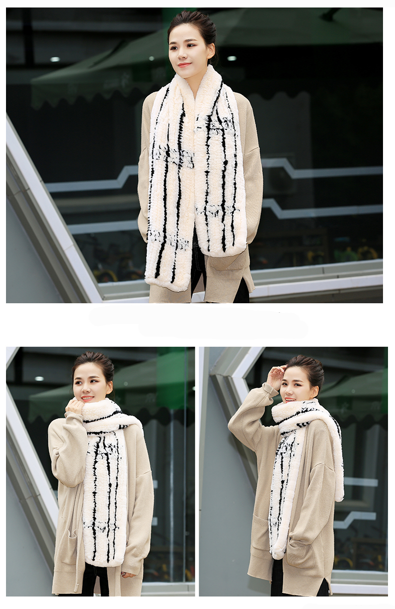 100% Real Rex Rabbit Fur Scarves Wraps For Women Winter Handmade 2018 New Fashion Long Natural Fur Scarf   (9)