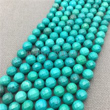MY0152 Green Turquoises Beads,Faceted Round Beads,Natural Stone Howlite Beads For Jewelry Making, 15.5''Free Shipping(China)