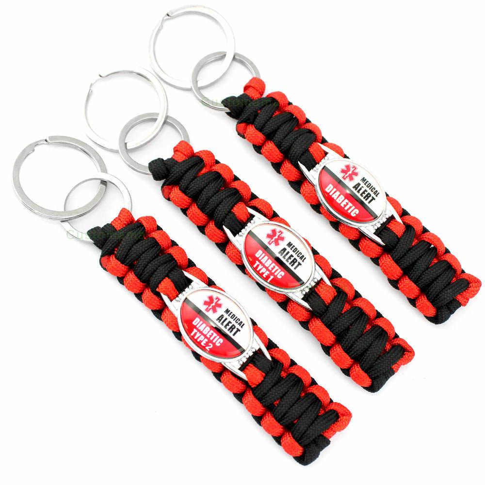 Diabetic Type 1 2 Medical Alert Red Black 25*18mm Glass Cabochon Paracord Survival Key